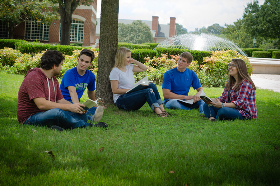 Arkansas State University - Mountain Home Students enjoying a break on campus.
